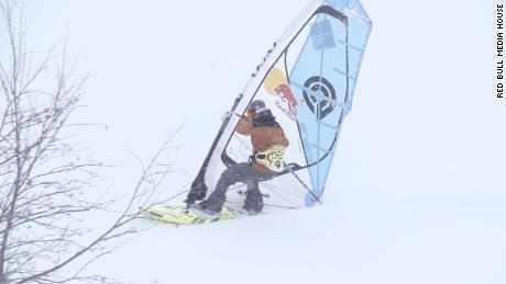 Windsurfing down a snowy Japanese mountain