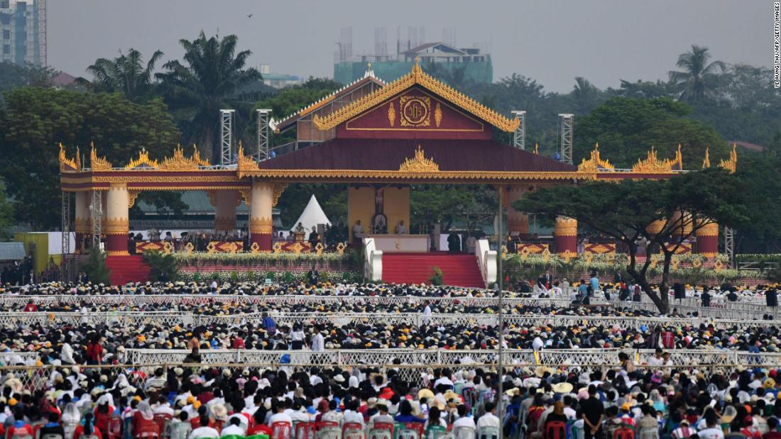 Thousands of Catholics gather to attend the Yangon Mass on November 29.