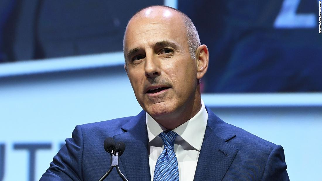 Lauer speaks at the Matrix Awards in New York on April 24.