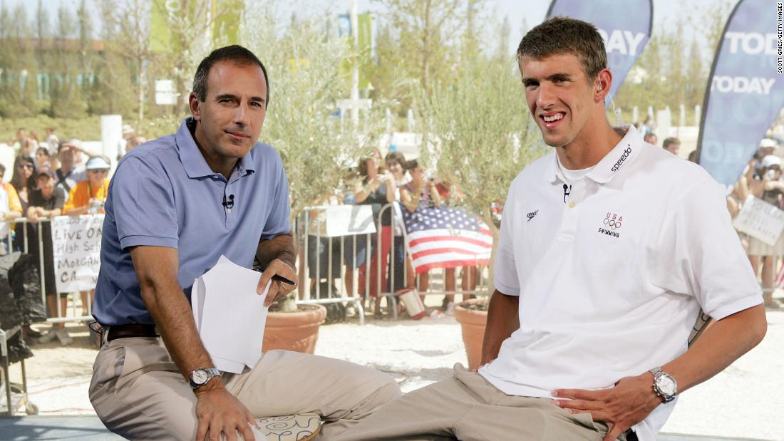 "Lauer interviews swimmer Michael Phelps on the set of ""Today"" in Athens, Greece, during the 2004 Olympic Games."
