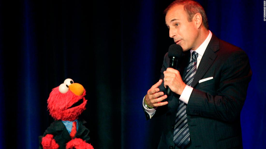 Lauer speaks with Elmo at the Sesame Workshop's Fifth Annual Benefit Dinner in New York in May 2007.