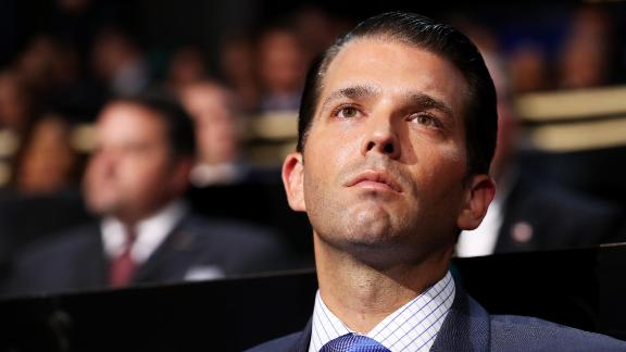 CLEVELAND, OH - JULY 18:  Donald Trump Jr. listens to a speech on the first day of the Republican National Convention on July 18, 2016 at the Quicken Loans Arena in Cleveland, Ohio. (John Moore/Getty Images)
