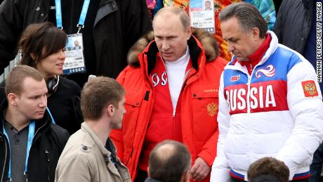 Russian President Vladimir Putin alongside former Minister of Sport Vitaly Mutko at the 2014 Winter Paralympics in Sochi, Russia.