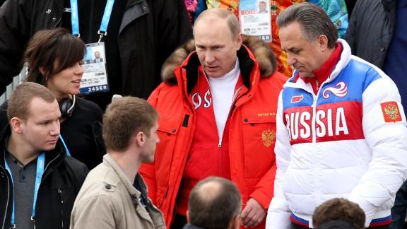 Russian President Vladimir Putin alongside former Minister of Sport Vitaly Mutko at the 2014 Winter Paralympics in Sochi, Russia.