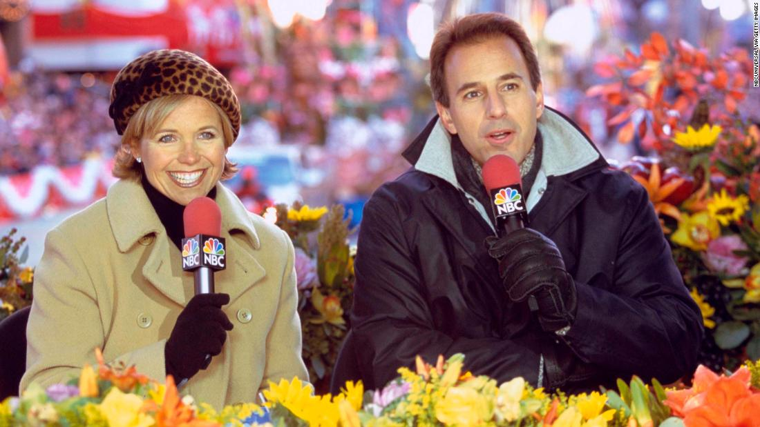 Katie Couric and Lauer host the 2000 Macy's Thanksgiving Day Parade.