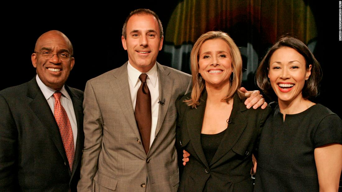 Lauer with Meredith Vieira, second from right, the show's weatherman, Al Roker, and news anchor  Ann Curry at a New York news conference in April 2006.