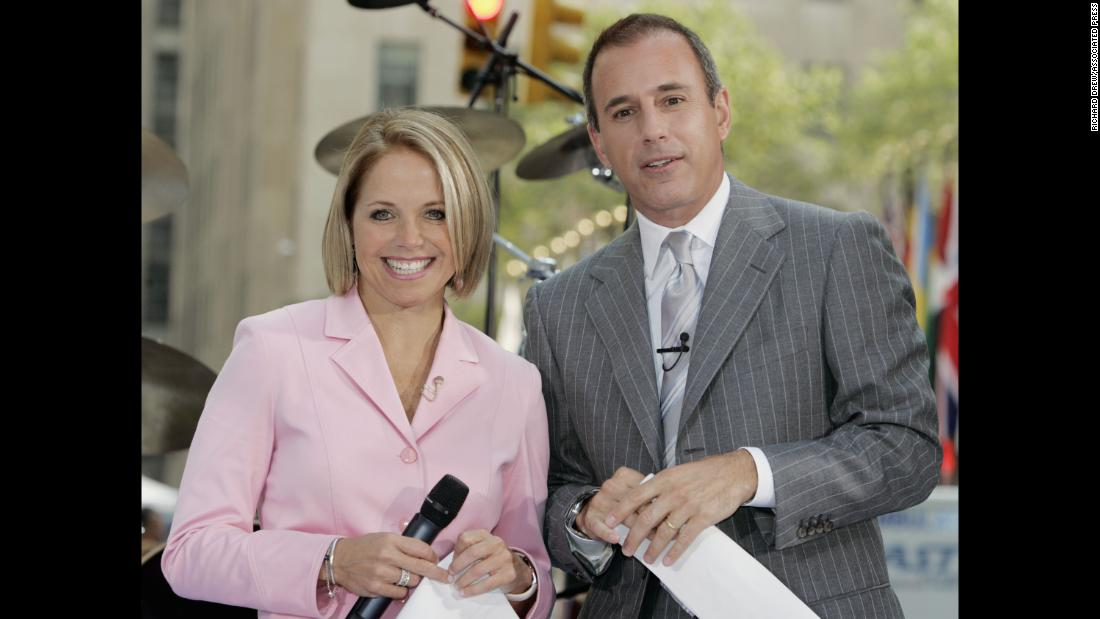 "Co-hosts Katie Couric and Lauer introduce a segment of the ""Today"" show in August 2005."