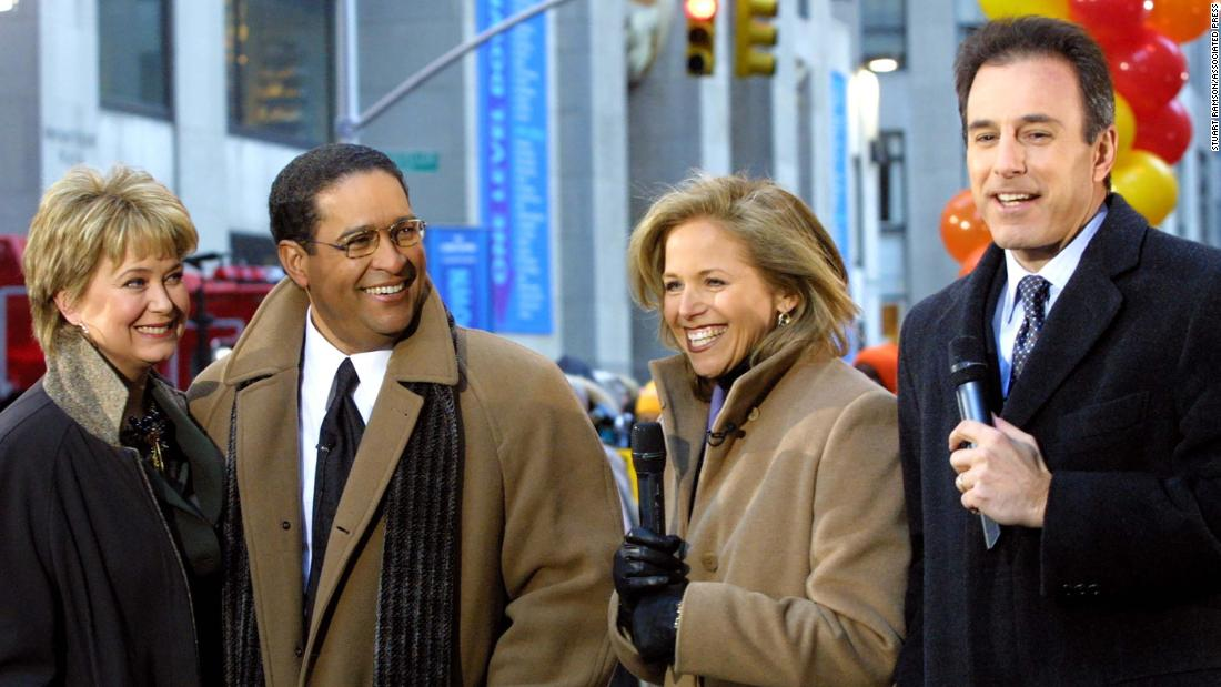 "Former NBC ""Today"" show hosts Jane Pauley, left, and Bryant Gumbel, second from left, appear with hosts Katie Couric and Matt Lauer at Rockefeller Plaza in New York during a three-hour retrospective observing the show's 50th anniversary in January 2002."