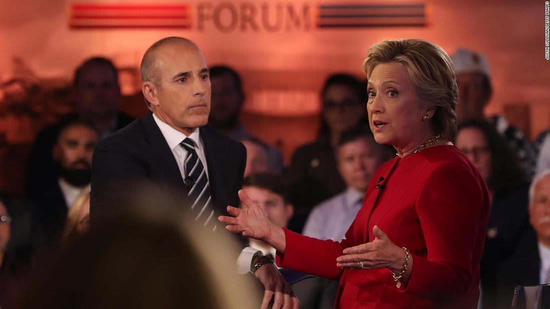 Lauer looks on as then-Democratic presidential nominee and former Secretary of State Hillary Clinton speaks during the NBC News Commander-in-Chief Forum in New York in September 2016.