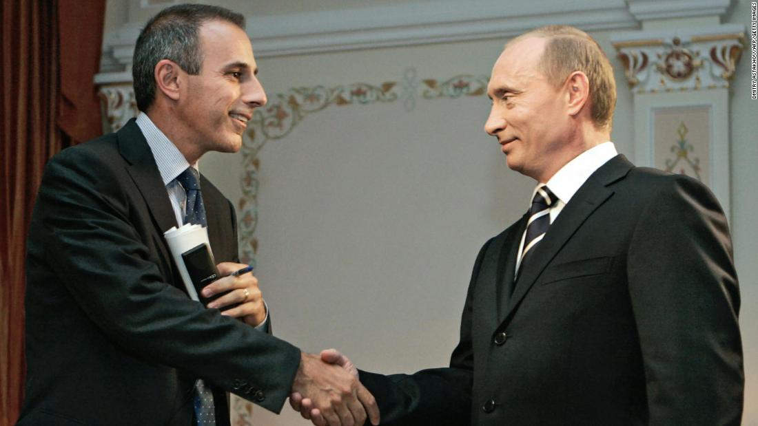 Lauer shakes hands with Russian President Vladimir Putin in Moscow, in July 2006.