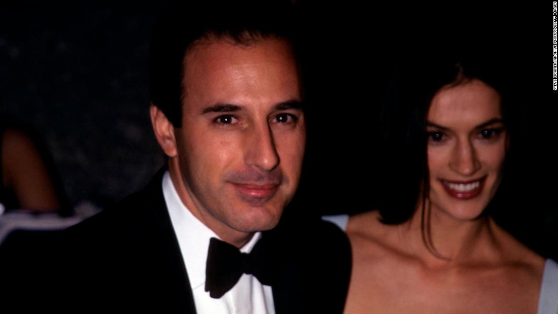 Lauer and Annette Roque pose together at the GQ Man of the Year event in New York in October 1998.