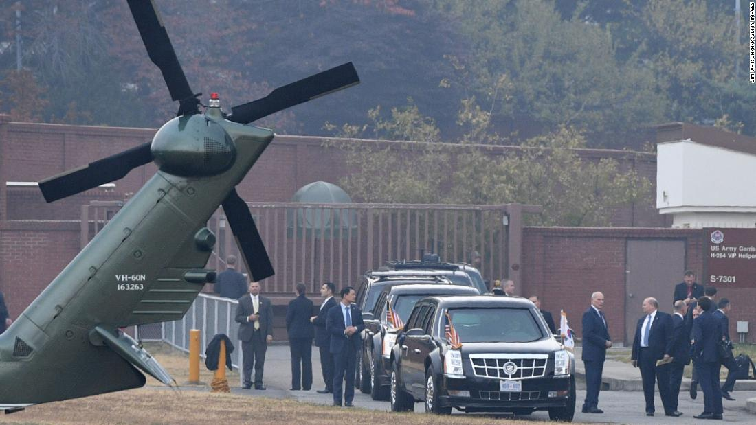 "President Donald Trump sits in his motorcade at a US Army garrison in Seoul, South Korea, on Wednesday, November 8. He was waiting for bad weather to clear so that he could make a surprise visit to the demilitarized zone, but he was ultimately <a href=""http://www.cnn.com/2017/11/07/politics/trump-dmz-north-korea-weather/index.html"" target=""_blank"">forced to turn back.</a>"