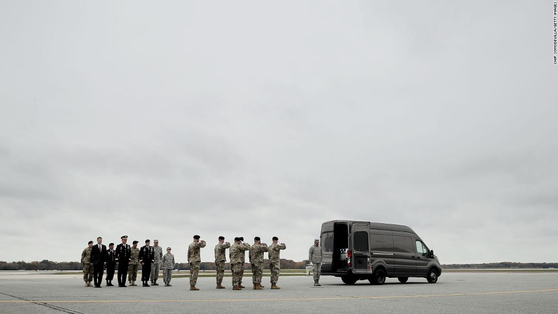 "The transfer case containing the remains of Army Sgt. 1st Class Stephen B. Cribben is moved at Dover Air Force Base in Dover, Delaware, on Wednesday, November 8. Cribben, 33, was <a href=""https://www.army.mil/article/196445/10th_special_forces_group_soldier_dies_in_afghanistan"" target=""_blank"">killed during a combat operation</a> in Afghanistan's Logar Province."