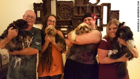 Jasmine Glenn, second from right, lives with her parents and their dogs in Allendale, Michigan.