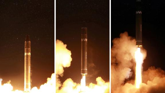 Photos released by North Korean state media show Wednesday's launch of the Hwasong-15 ICBM.