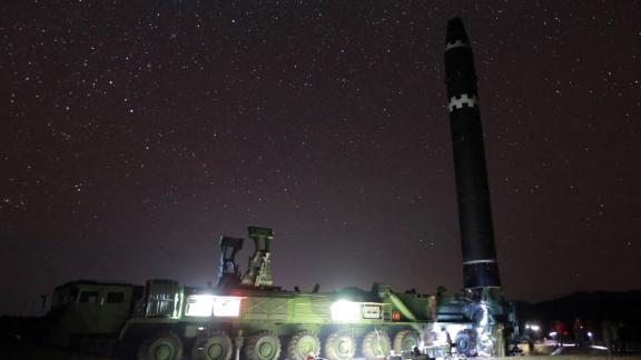 This image provided North Korean government on Thursday, Nov. 30, 2017, shows what the North Korean government calls the Hwasong-15 intercontinental ballistic missile. It appears to use a long exposure to capture the stars.