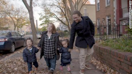 Rebecca and Patrick Cokley and their kids in their Washington neighborhood.