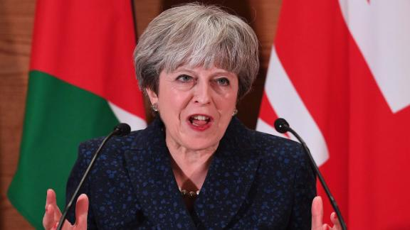 AMMAN, JORDAN - NOVEMBER 30:  British Prime Minister Theresa May addresses guests and media during a speech at the Jordan museum on November 30, 2017 in Amman, Jordan. Theresa May has visited Iraq, Saudi Arabia and Jordan during her diplomatic tour of the region.  (Photo by Leon Neal/Getty Images)