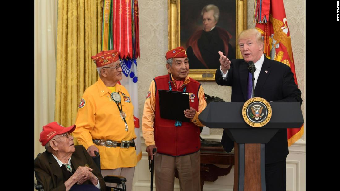 "US President Donald Trump speaks during a White House meeting honoring Navajo code talkers on Monday, November 27. From left are Fleming Begaye Sr., Thomas Begay and Peter MacDonald. The event was supposed to bring more attention to the veterans' <a href=""http://www.cnn.com/2017/11/27/politics/trump-pocahontas-navajo-code-talkers/index.html"" target=""_blank"">remarkable story from World War II,</a> but the headlines afterward were all about <a href=""http://www.cnn.com/2017/11/28/us/navajo-code-talkers-trump-who/index.html"" target=""_blank"">Trump's ""Pocahontas"" comment,</a> a nickname he has long used to ridicule US Sen. Elizabeth Warren. ""I just want to thank you because you are very, very special people. You were here long before any of us were here,"" Trump said. ""Although, we have a representative in Congress who has been here a long time ... longer than you -- they call her Pocahontas!"""