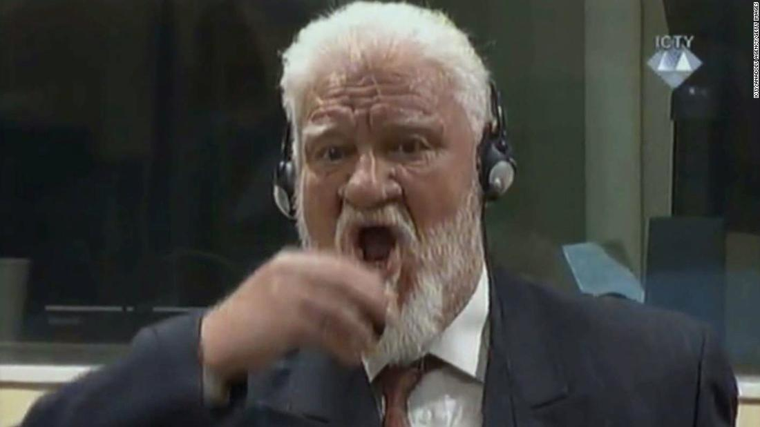 "Former Croatian Gen. Slobodan Praljak drinks a small bottle of liquid he claimed to be poison after a judge at The Hague <a href=""http://www.cnn.com/2017/11/30/europe/slobodan-praljak-hague-death/index.html"" target=""_blank"">confirmed his 20-year prison term for war crimes</a> on Wednesday, November 29. The International Criminal Tribunal for the former Yugoslavia confirmed later that Praljak had been given immediate medical help in the courtroom before being taken to the hospital, where he died."