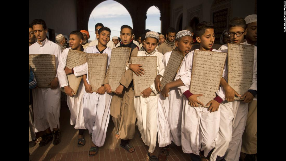 Children head to the Great Mosque of Sale, near Rabat, Morocco, to pray for rain on Friday, November 24. Morocco has suffered a severe shortage of rainfall since the end of the summer.