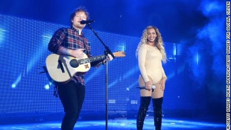 Ed Sheeran and Beyoncé during 2015 Global Citizen Festival to end extreme poverty by 2030.