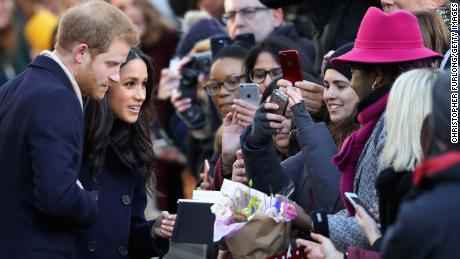 Harry and Markle meet well-wishers in Nottingham during their first royal event together earlier this month.