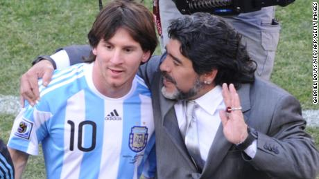 Argentina's coach Diego Maradona (R) and Argentina's striker Lionel Messi speak after their Group B first round 2010 World Cup football match Argentina versus South Korea on June 17, 2010 at Soccer City stadium in Soweto, suburban Johannesburg. Argentina won the match 4-1. NO PUSH TO MOBILE / MOBILE USE SOLELY WITHIN EDITORIAL ARTICLE - AFP PHOTO / GABRIEL BOUYS (Photo credit should read GABRIEL BOUYS/AFP/Getty Images)