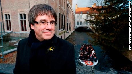 Catalan leader in exile Carles Puigdemont looks on during a visit to the city of Bruges on November 25, 2017.  Catalonia's deposed leader Carles Puigdemont has launched his campaign for regional elections by calling on Catalans to make known their desire for independence. / AFP PHOTO / BELGA / NICOLAS MAETERLINCK / Belgium OUT        (Photo credit should read NICOLAS MAETERLINCK/AFP/Getty Images)