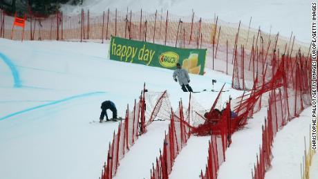 Lindsey Vonn careered into safety netting before skiing away uninjured in Lake Louise.