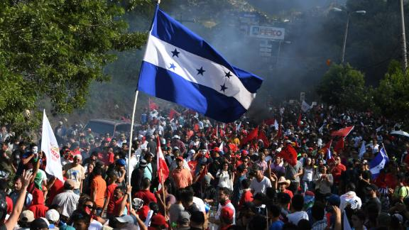 Thousands of Salvador Nasralla's supporters are shown holding a demonstration in Tegucigalpa, Honduras, on December 3, 2017.
