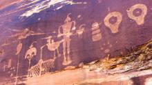 Ancient rock art is pockmarked by bullets from when Mormons headed through Bears Ears in Utah.