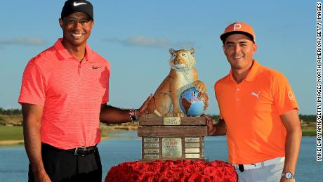 Rickie Fowler (right) shot an 11-under-par final round of 61 to win the 2017 Hero World Challenge.