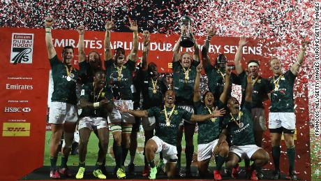 South Africa's rugby sevens team celebrate winning the first leg of the 2018 World Series in Dubai.