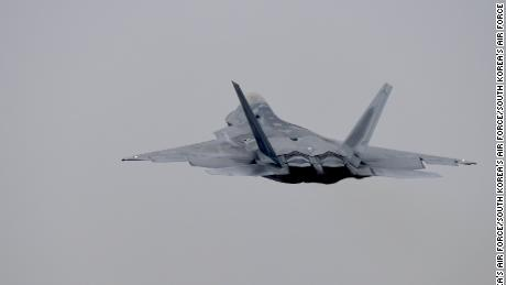 An F-22 takes off from South Korea's 1st Fighter Wing in Gwangju for the Vigilant ACE joint drills on Dec. 4