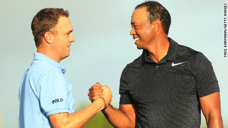 'And all I get asked about, is Tiger Woods' - PGA Tour player of the year Justin Thomas (left).