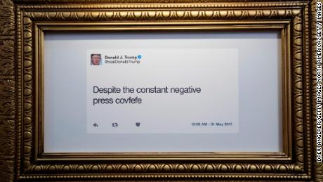 NEW YORK, NY - JUNE 16: A tweet is displayed at The Daily Show-produced 'Donald J. Trump Presidential Twitter Library,' June 16, 2017 in New York City. The parody library showcases President Trump's tweets through the years. (Photo by Drew Angerer/Getty Images)