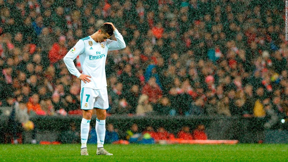 Real Madrid star Cristiano Ronaldo plays in the snow during a Spanish league match in Bilbao, Spain, on Saturday, December 2.
