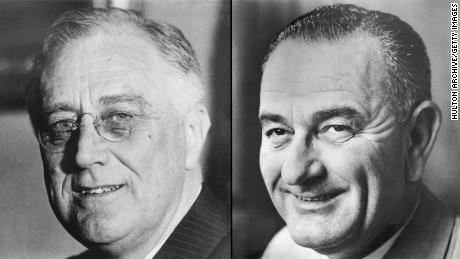 Franklin D. Roosevelt, left, and Lyndon B. Johnson, right.