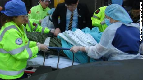 North Korean defector Oh Chong Song being brought to the trauma unit at Ajou University Hospital in the South Korean capital Seoul. on November 13.