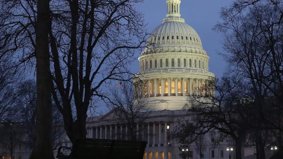 WASHINGTON, DC - MARCH 19:  The U.S. Capitol dome is seen before work begins on a two-year, $60 million rnovation of March 19, 2014 in Washington, DC. Curved rows of scaffolds will encircle the dome starting this spring, enabling contractors to strip multiple layers of paint and repair more than 1,000 cracks and broken pieces.  (Photo by Chip Somodevilla/Getty Images)