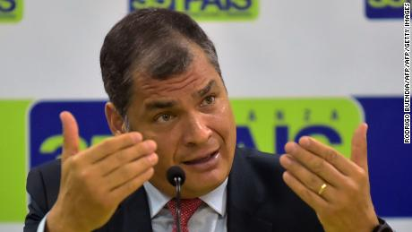 Former Ecuadorian president Rafael Correa delivers a press conference for the foreign media, at his Alianza Pais party headquarters in Quito on November 30, 2017.  / AFP PHOTO / RODRIGO BUENDIA        (Photo credit should read RODRIGO BUENDIA/AFP/Getty Images)