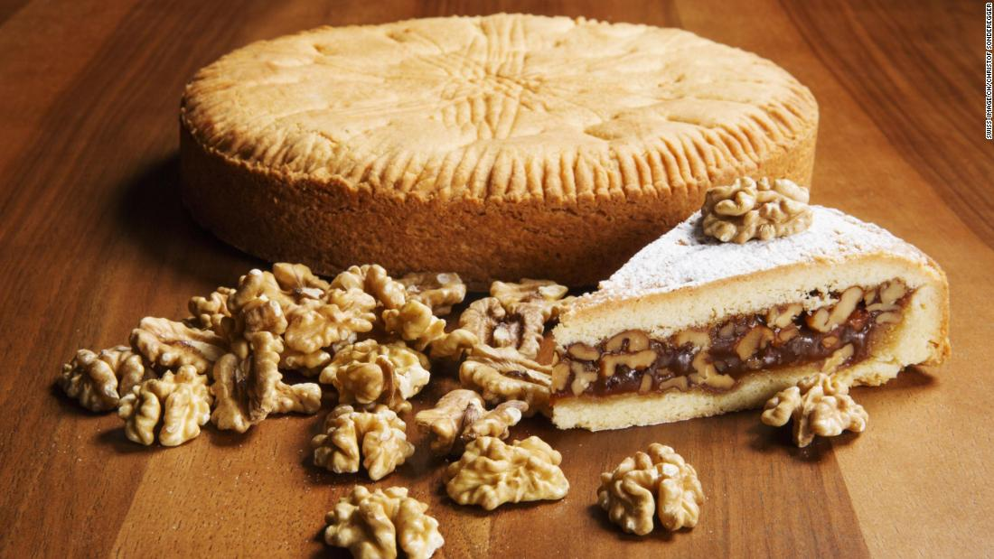 <strong>Local flavor:</strong> Engadin nut tart is a classic local dish made from fine, buttery shortcut pastry, caramel and walnuts.