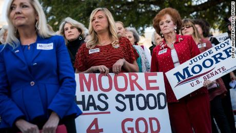 MONTGOMERY, AL - NOVEMBER 17: Women attend a 'Women For Moore' rally in support of Republican candidate for U.S. Senate Judge Roy Moore, in front of the Alabama State Capitol, November 17, 2017 in Montgomery, Alabama. Kayla Moore told the crowd of supporters that her husband will not bow out of the Senate race. (Drew Angerer/Getty Images)