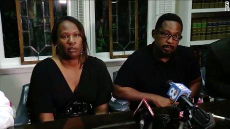 Rosita Donaldson and Howell Donaldson Jr., spoke after their son was arrested and accused of killing four people in Tampa, Florida.