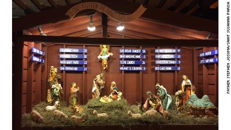This year's manger scene outside Saint Susanna Parish in suburban Boston, Massachusetts.