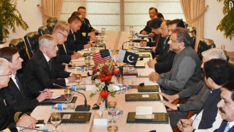 U.S. Defense Secretary James Mattis (third left) meets with Pakistani officials in Islamabad on December 04, including Prime Minister Shahid Khaqan Abbasi (fourth right).