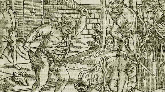 "A whipping or ""cobbing"" was also historically used as a punishment for adults. This etching shows Bishop of London Edmund Bonner punishing a heretic in ""Foxe's Book of Martyrs"" from 1563. According to the Encyclopedia Britannica, Bonner was characterized as a monster who enjoyed burning Protestants at the stake during the reign of the Roman Catholic Queen Mary I, who was known as ""Bloody Mary."""
