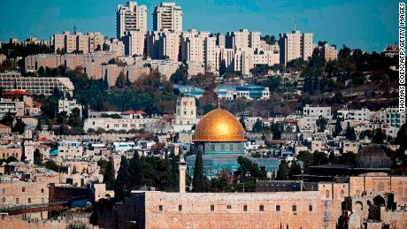 A general view of the city of Jerusalem shows the Dome of the Rock mosque (C) on December 4, 2017. 