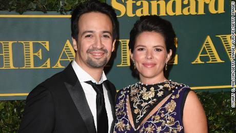 LONDON, ENGLAND - DECEMBER 03:  Lin-Manuel Miranda and Vanessa Nadal attend the London Evening Standard Theatre Awards at the Theatre Royal on December 3, 2017 in London, England.  (Photo by Stuart C. Wilson/Getty Images)